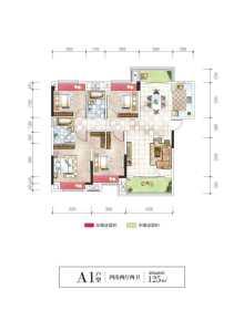 湾田和悦家园4房户型图