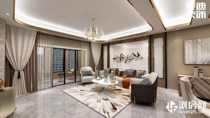 碧桂园观澜111平方米现代风格案例效果图--客厅