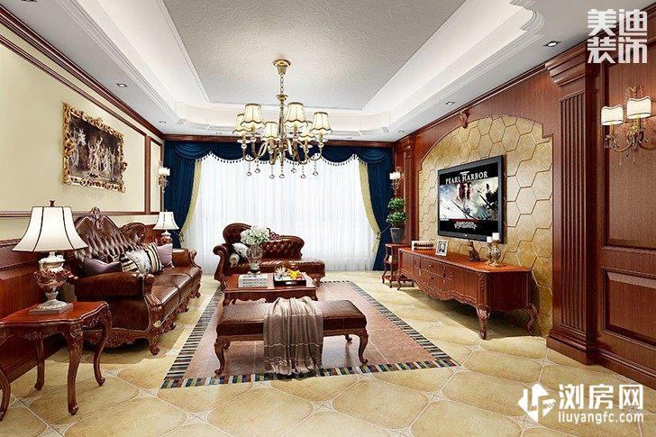 君悦天下美式风格装修案例图--客厅