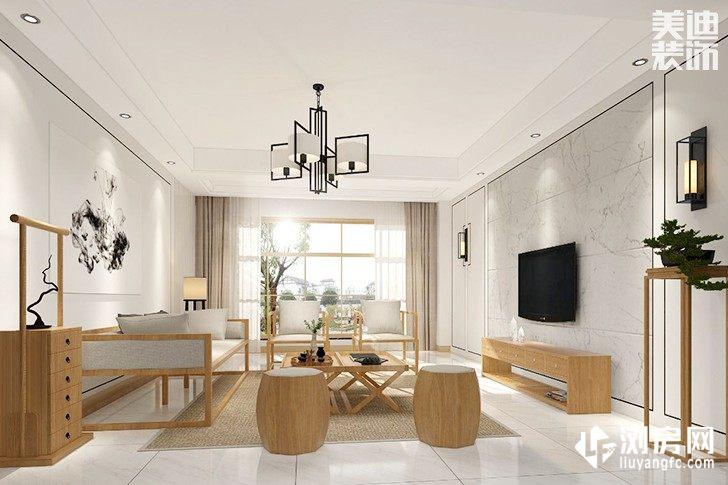 新月半岛新中式装修案例图--客厅